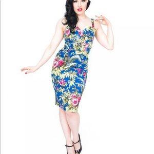 Lindy bop blue tiki tropical dress